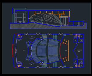 طراحی اتوکدی سالن بزرگ آمفی تئاتر