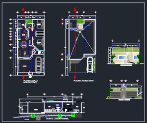 طراحی خانه ویلایی 1 طبقه پلان با مبلمان،نما،مقطع،پلان بام