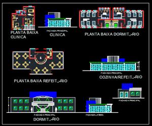 طراحی کلینیک ورزشی پلان طبقات با مبلمان،نما،برش