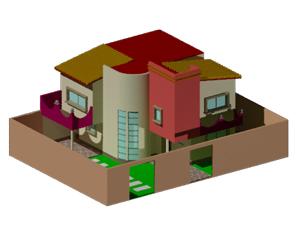 طراحی سه بعدی خانه ویلایی در اتوکد به همراه رندر