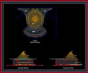طراحی کامل آلاچيق در اتوکد به همراه پلان و نما