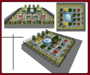 طراحی باغ زیبا سه بعدی شده در اسکچاپ