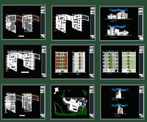 طراحی کامل پلان هتل شیک در اتوکد به همراه نما،برش،پلان آکس بندی
