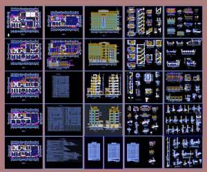 طراحی کامل مجتمع بزرگ تجاری و اداری در اتوکد پلان،نما،برش،دیتیل