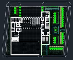 طراحی مرکز آتش نشانی در اتوکد به همراه پلان،نما،سایت پلان