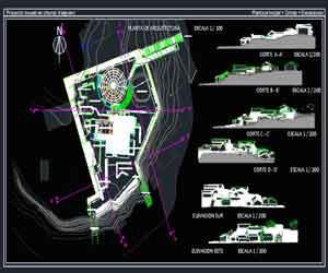 طراحی کامل موزه نمایشگاهی در اتوکد به همراه پلان،نما،برش