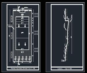 دانلود طراحی استخر رو باز در اتوکد پلان،برش،دیتیل