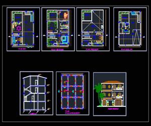 دانلود ویلای سه طبقه طراحی شده در اتوکد پلان،نما،برش
