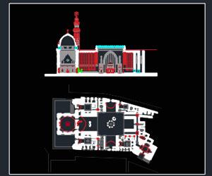 طراحی کامل مسجد با رعایت سلسله مراتب