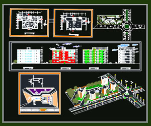 طراحی کامل شهرک مسکونی 100 واحدی در اتوکد به همراه پلان،نما،برش،سایت پلان،پرسپکتیو