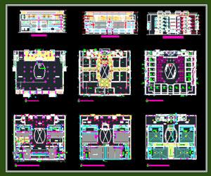 طراحی کامل مرکز تجاری در اتوکد به همراه پلان،نما،برش