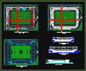 طراحی پلان استادیوم فوتبال با امکانات کامل به همراه نما،مقطع