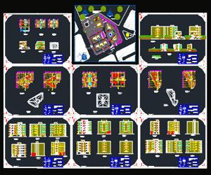 طراحی شهرک مسکونی آپارتمانی و ویلایی به همراه پلان-نما-مقطع- رندر