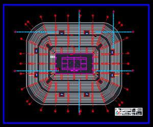 طراحی اتوکدی استادیوم تنیس به همراه پلان-مقطع