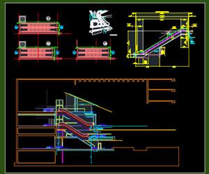 طراحی اتوکدی پله برقی با جزییات کامل پلان-نما-پرسپکتیو