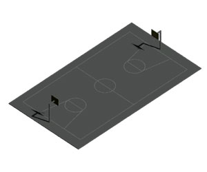بلوک 3بعدی زمین بسکتبال در اتوکد (رایگان)