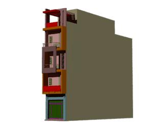 طراحی سه بعدی نمای ساختمان 5 طبقه به همراه 3 رندر