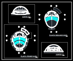 طراحی اتوکدی سالن بزرگ کنسرت و تئاتر