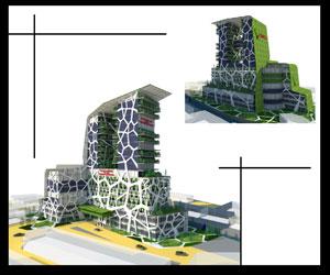طراحی سه بعدی مجتمع اداری و تجاری سبز بر پایه معماری پایدار