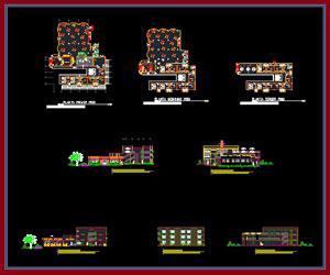 طراحی پلان هتل 26 اتاقی با امکانات کامل به همراه نما،مقطع،پلان