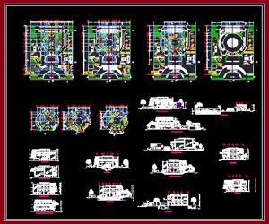 طراحی کامل پلان مرکز بازی و سرگرمی در اتوکد به همراه نما و برش