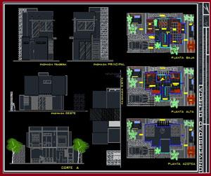 طراحی پلان خانه مسکونی 2 طبقه با امکانات کامل به همراه مقطع و نما