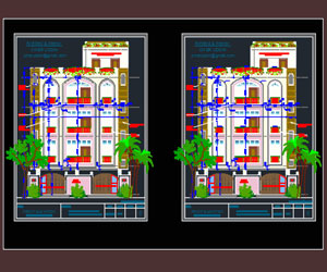 طراحی دو نمای زیبای مسکونی در اتوکد