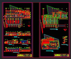 طراحی کامل اتوکدی ترمینال مینی بوسرانی پلان،نما،برش