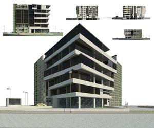 طراحی 3 بعدی هتل آپارتمان با نمای سبز در اتوکد به همراه 24 رندر